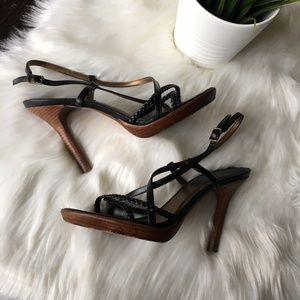 ALDO Black Braided Leather Stiletto Sandals 39 9